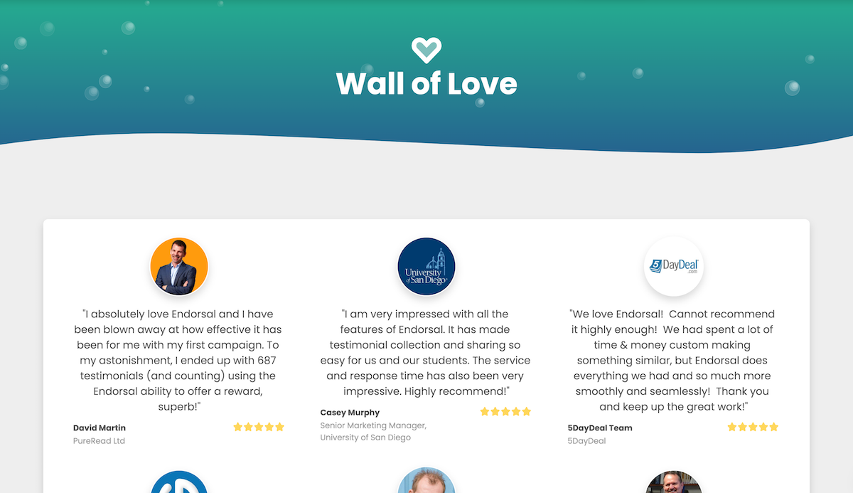 Endorsal Wall of Love